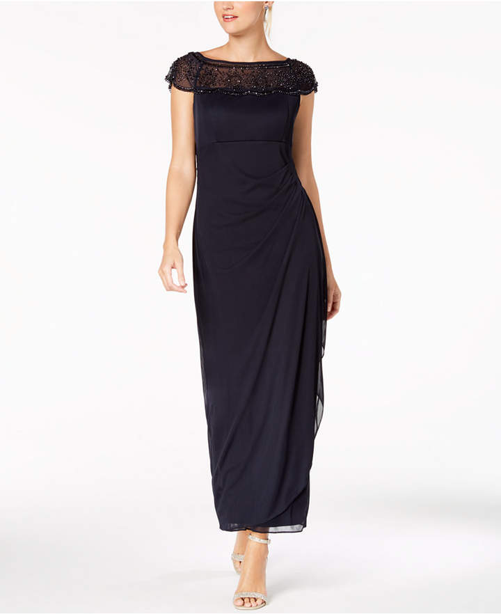 MSK Embellished Ruched Cascade Gown