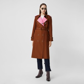 Burberry Colour Block Cotton Gabardine Trench Coat
