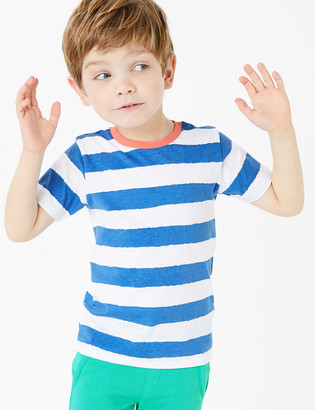 Marks and Spencer Pure Cotton Striped T-Shirt (2-7 Yrs)