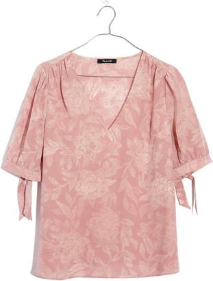 Madewell Pindot Blooms Tie Sleeve Silk Top