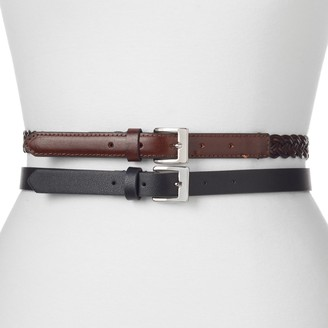 Apt. 9 Women's 2-for-1 Solid & Braided Belt Set