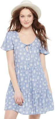 Love, Fire Juniors' Short Sleeve Woven Babydoll Dress