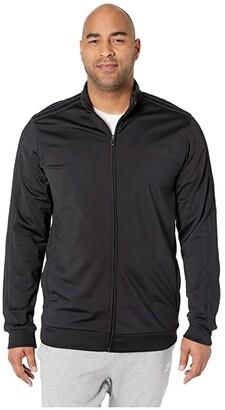 adidas Big Tall Essentials 3-Stripe Tricot Track Jacket (Black/Black) Men's Coat