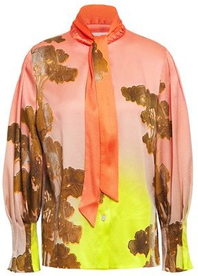 Peter Pilotto Tie-neck Hammered Silk-blend Satin Blouse