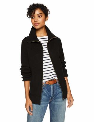 Cable Stitch Women's Zip Up Sweater Cardigan Black Medium
