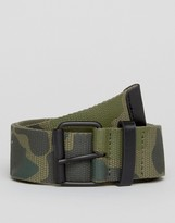 Asos Camo Belt With Black Coated Buckle