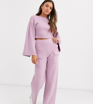 ASOS DESIGN Petite co ord ribbed knit trouser with pockets