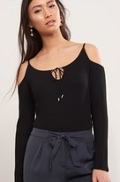 Dynamite Ribbed Cold Shoulder Bodysuit
