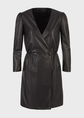 Emporio Armani Crossover Dress In Glove-Quality Lambskin Nappa Leather
