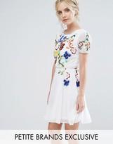 Frock and Frill Petite Frock And Frill Petite Premium Embellished Top Mini Prom Skater Dress