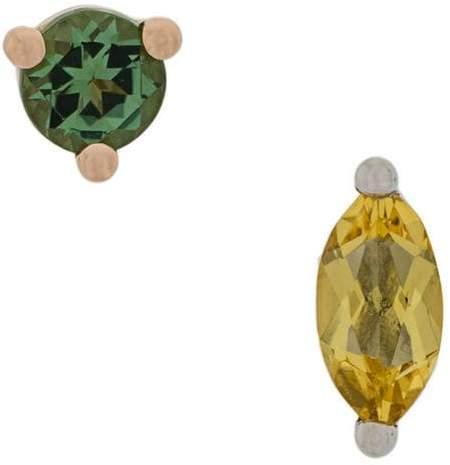 Delfina Delettrez 18kt gold Dots Solitaire yellow beryllium and green tourmaline earrings