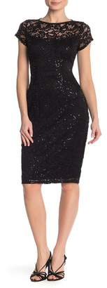 Marina Sequin Lace Cap Sleeve Midi Dress