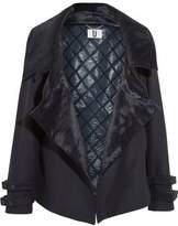 Topshop Calf Hair-Trimmed Wool-Blend Coat