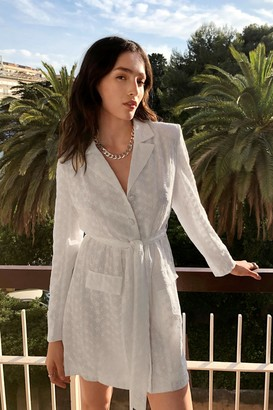 Nasty Gal Womens Workin' Nine to Five Belted Blazer Dress - White - 6