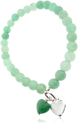 Earth Green Aventurine Heart and Sterling Silver Heart on Green Aventurine Beaded Stretch Bracelet - from the Collection