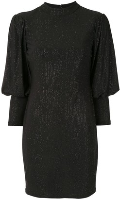 Aidan Mattox Glitter Bell-Sleeve Dress
