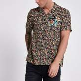 River Island Mens Green floral print embroidered shirt