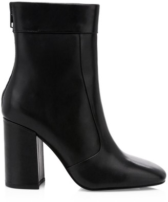 Ash Janice Square-Toe Leather Ankle Boots