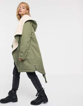 Asos Design DESIGN waterfall parka with fleece lining in khaki-Pink