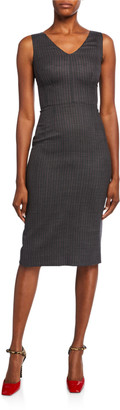 Dolce & Gabbana Sleeveless Pinstripe Wool Dress