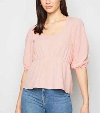 New Look Cameo Rose Puff Sleeve Peplum Top