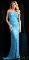 Scala Dazzling Beaded Strapless Sweetheart Evening Gown