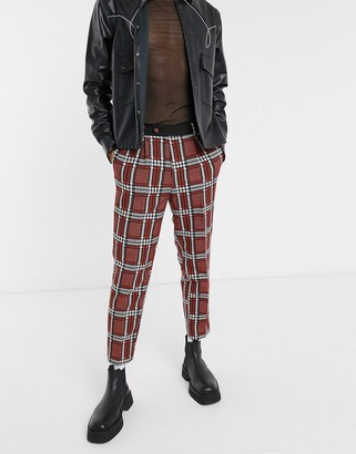 ASOS EDITION tapered suit pants with check jacquard