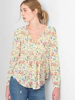 Gap Floral Pintuck Split-Neck Blouse