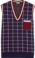 Miu Miu Checked Wool Vest - Navy