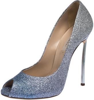 Casadei Blue/Grey Glitter Pegasus Peep Toe Pumps Size 40
