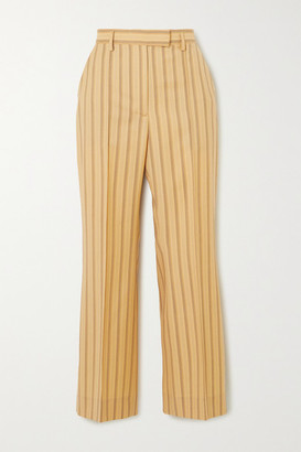 Acne Studios Cropped Pinstriped Grain De Poudre Wool Flared Pants - Yellow