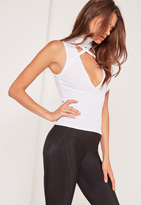 Missguided High Neck Harness Tank Top White