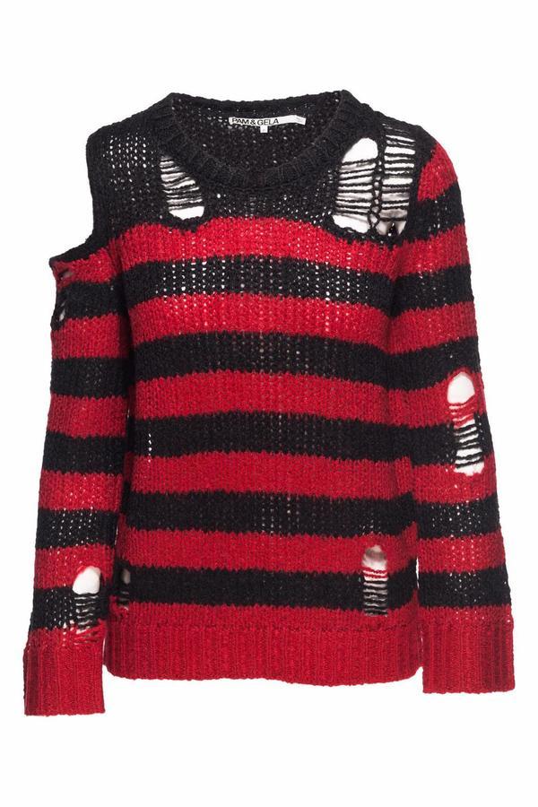 Pam & Gela Destructed Stripe Sweater