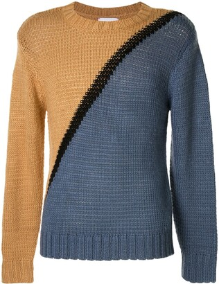 Ports V Two-Tone Crew Neck Jumper
