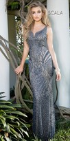 Scala Plunging Open Back Sequin Motif Prom Dress
