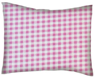 Sheetworld Twin Pillow Case - Percale Pillow Case - Pink Gingham Check