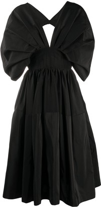 Alexander McQueen Cape-Style Sleeves Midi Dress