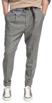 Brunello Cucinelli Glen Plaid Wool-Cashmere Leisure-Fit Pants