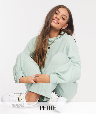 ASOS DESIGN Petite fluffy hoodie tracksuit with straight leg jogger in mint