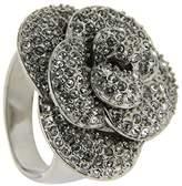 Jean Pierre Women's Ring Rhodium-Plated Brass and White Glass Round Cut HEWR1897 RH silver