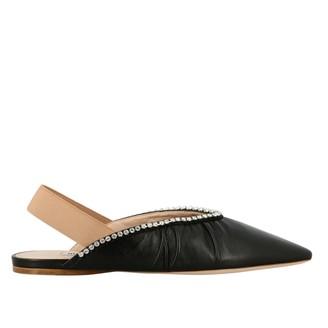 Miu Miu Flat Sandal In Leather With Rhinestones