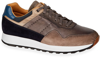 Magnanni Men's Varenna Leather/Suede Lace-Up Sneakers