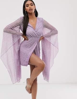 Asos Design DESIGN embellished plunge drape kimono sleeve mini dress-Blue