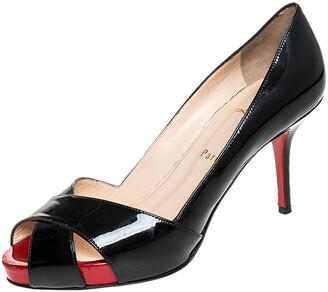 Christian Louboutin Black Patent Leather Shelley Peep Toe Pump Size 37.5