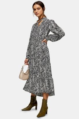 Topshop Womens Petite Animal Print Tiered Chuck On Midi Dress - Multi