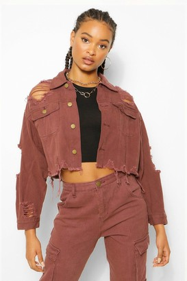 boohoo Distressed Crop Denim Jacket