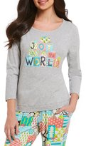 Sleep Sense Petite Joy to the World Glittery Gifts Jersey Sleep Top