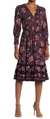 London Times Challis Floral Long Sleeve Flounce Midi Dress