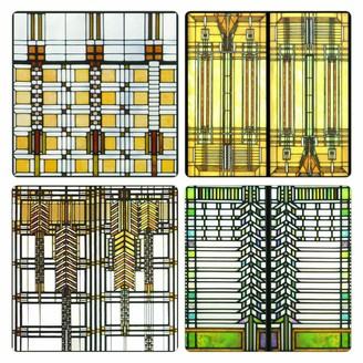 "CoasterStone Absorbent Coasters 4-1/4-Inch ""Frank Lloyd Wright Art Glass Collection"" Set of 4"