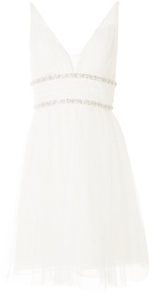 Marchesa Embroidered Deep V-Neck Dress